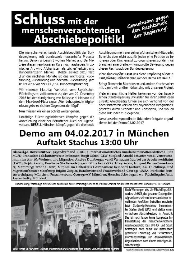 München: Internationalistisches Bündnis initiiert Demonstration gegen Abschiebepolitik am 4. Februar