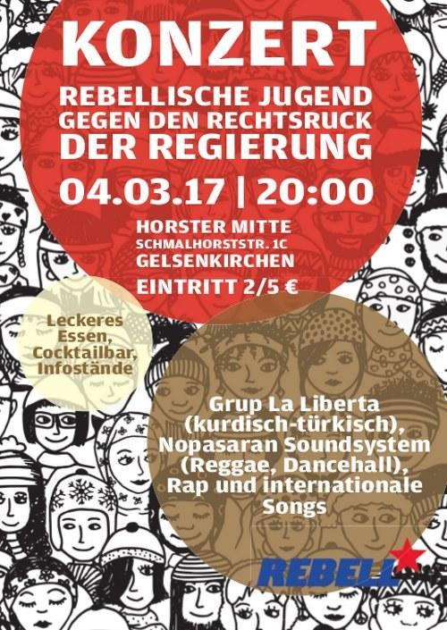 """REBELL-Konzert """"Rebellische Jugend gegen den Rechtsruck DER REGIERUNG"""" am 4. März"""