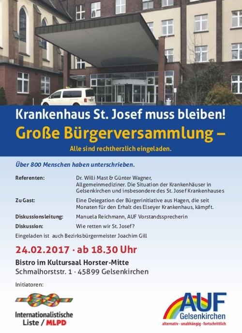 AUF Gelsenkirchen: Bürgerversammlung  für den Erhalt  des St. Josef-Krankenhauses