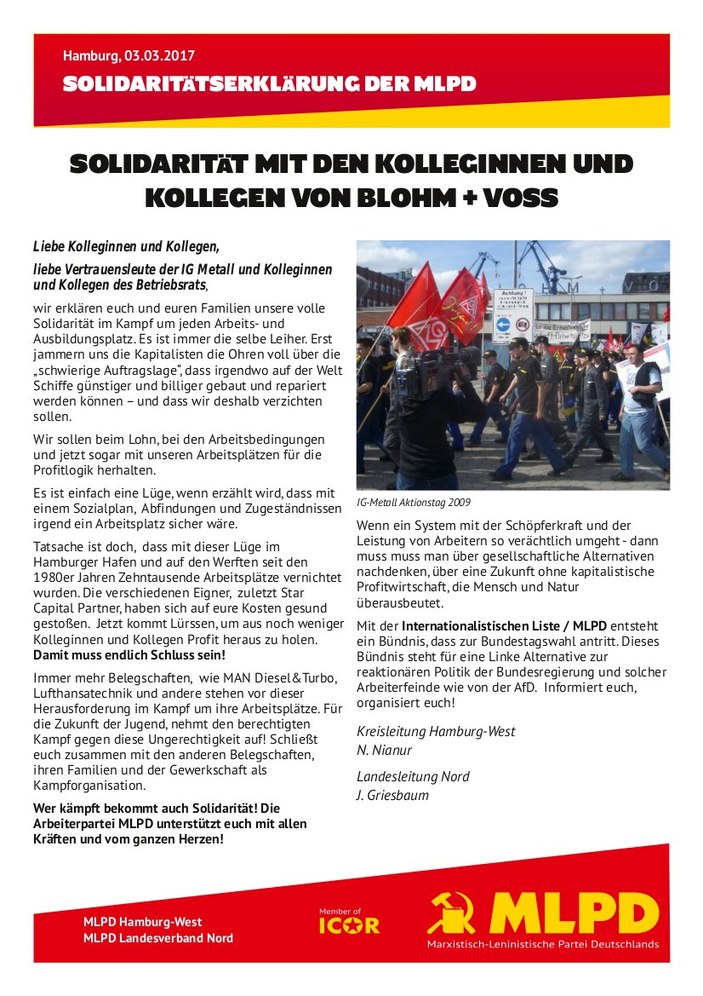 Solidarität mit den Kolleginnen und Kollegen von Blohm & Voss