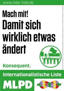 Die Wahlplakate der Internationalistischen Liste/MLPD stehen bereit