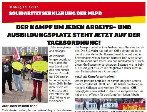 MLPD zu Bremer Gesamthafenbetriebsverein: Kampf um jeden Arbeitsplatz