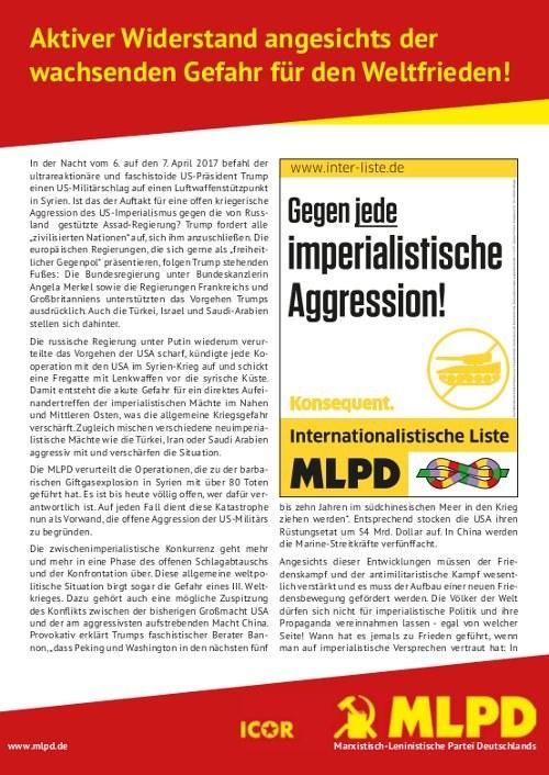 MLPD ruft zu Ostermärschen 2017 auf