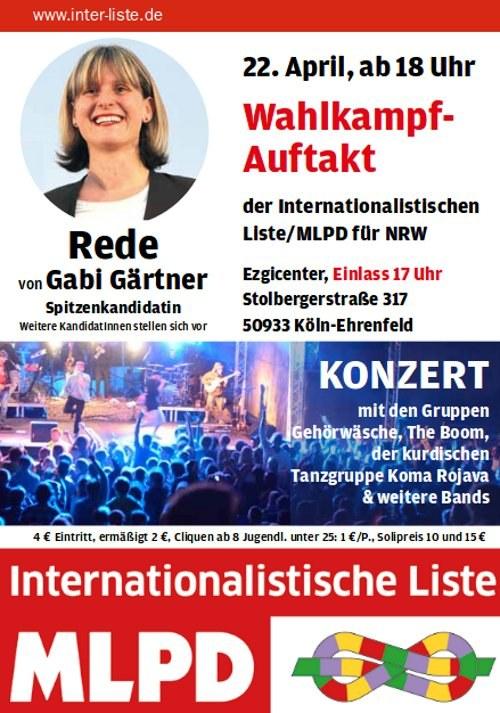 Herzlich willkommen zur Wahlkampf-Auftaktveranstaltung der Internationalistischen Liste/MLPD am 22. April in Köln