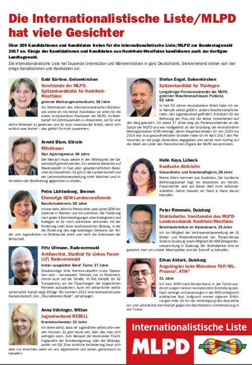 Internationalistische Liste/MLPD: Unsere Kandidaten