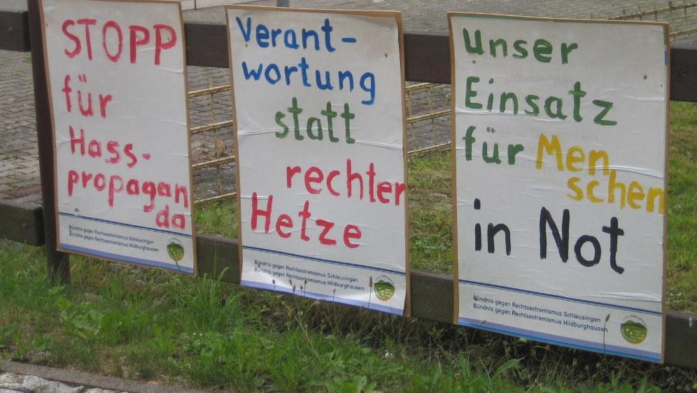 Die Menschen in Themar sagen ihre antifaschistische Meinung (rf-foto)