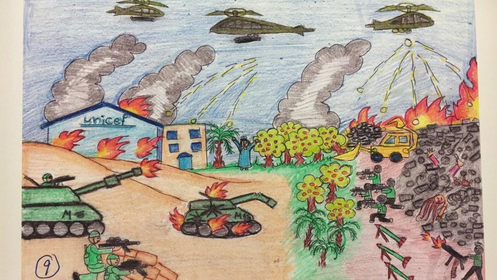 Bild, das den Krieg in Gaza aus den Augen eines palästinensischen Kindes zeigt. Gesehen auf der aktuellen Documenta-Ausstellung in Kassel