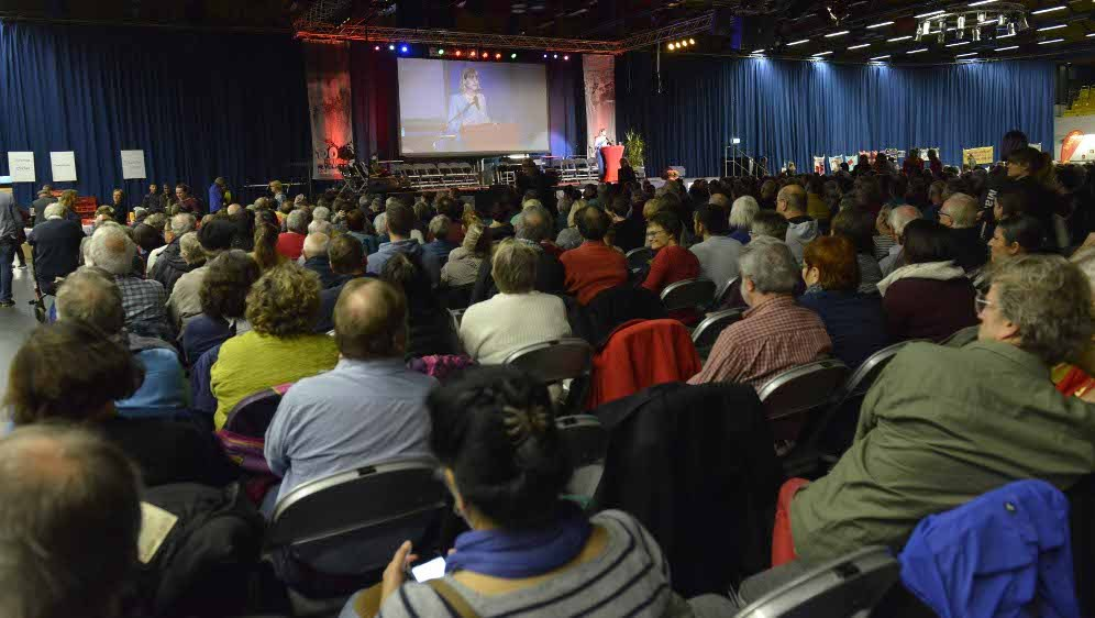 Blick ins Publikum während der Rede der MLPD-Vorsitzenden Gabi Fechtner (Foto: RF)