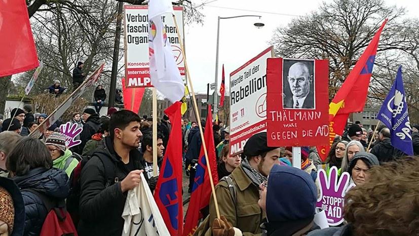 Kämpferische Demonstration gegen AfD-Parteitag