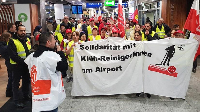 Kämpferischer Auftakt des ersten Streiktags am Flughafen