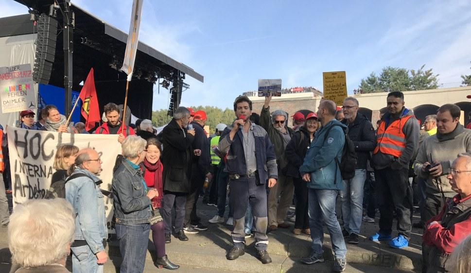 Kämpferische Kundgebung gegen die Fusion (rf-foto)