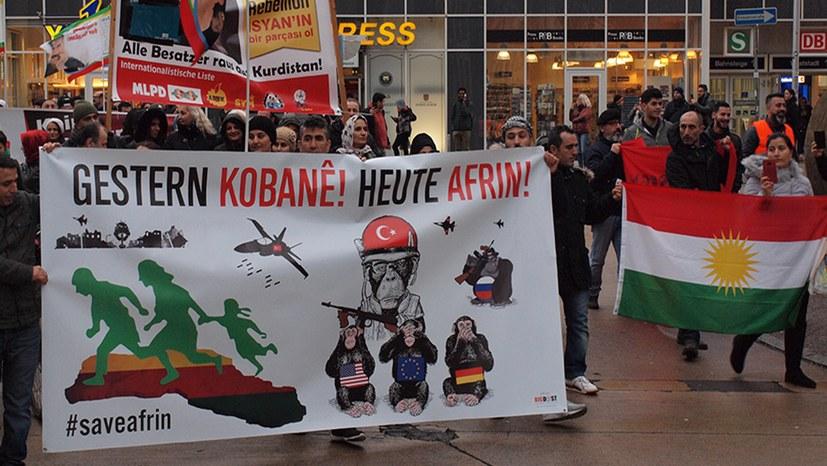 Welle der Solidarität mit dem Kanton Afrin