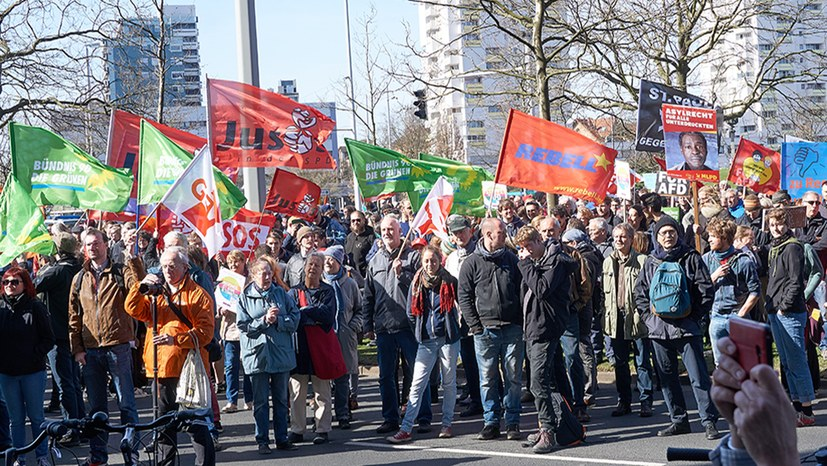 Protestkundgebung gegen Parteitag der Wegbereiter des Faschismus