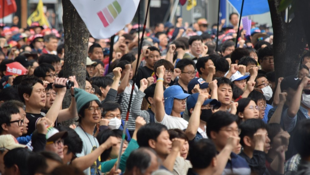 Demonstranten am 1. Mai in Seoul (Foto: RF)