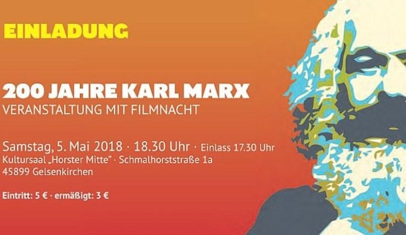 200 Jahre Karl Marx - Veranstaltung mit Filmnacht am 5. Mai in Gelsenkirchen