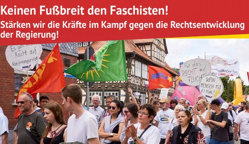 """""""Keinen Fußbreit den Faschisten! Stärken wir die Kräfte im Kampf gegen die Rechtsentwicklung der Regierung!"""""""