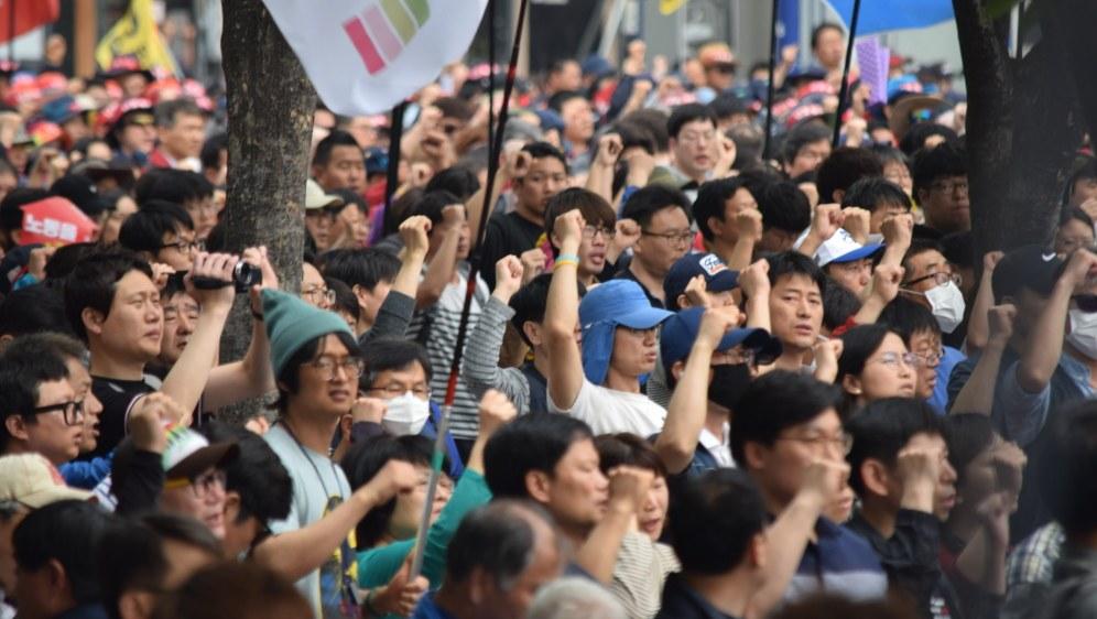 Kämpferische Demonstration am 1. Mai 2018 in der südkoreanischen Hauptstadt Seoul (Foto: RF)