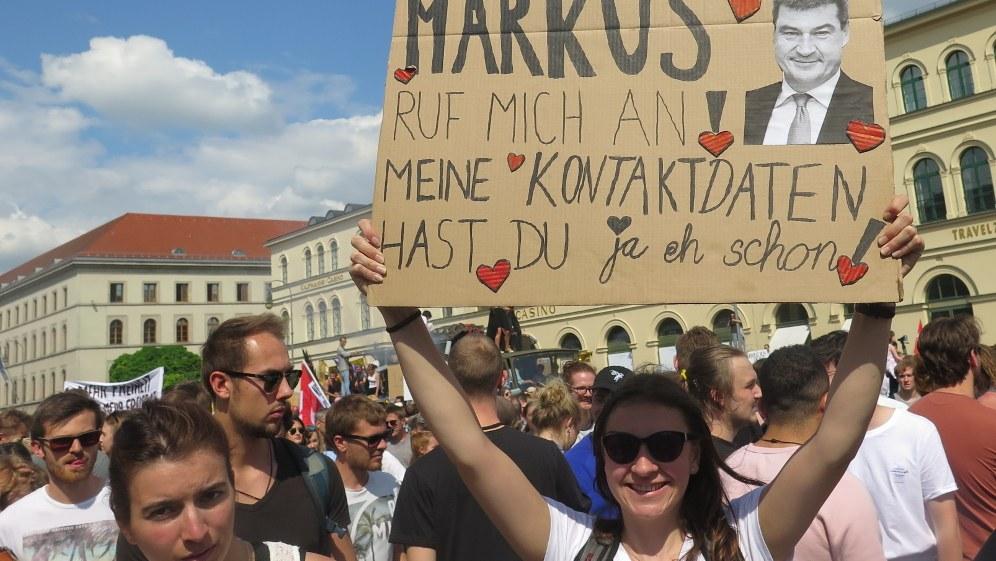 Bayerns Ministerpräsident Markus Söder als besonders aggressiver Scharfmacher stand mit im Fokus der Proteste gegen das bayerische Polizeigesetz (Foto: RF)