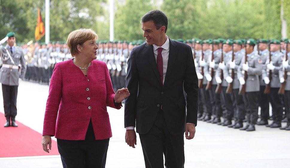 Spaniens Ministerpräsident Pedro Sánchez - hier mit Angela Merkel - steht unter Druck (foto: Ministry of the President. Government of Spain)