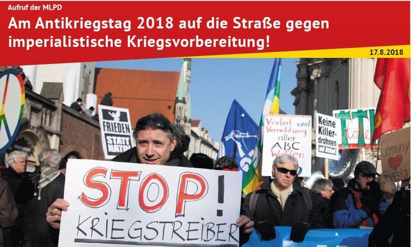 Am Antikriegstag 2018 auf die Straße gegen imperialistische Kriegsvorbereitung!