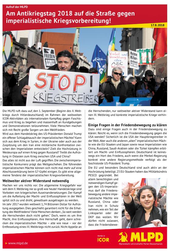 """""""Am Antikriegstag 2018 auf die Straße gegen imperialistische Kriegsvorbereitung!"""""""