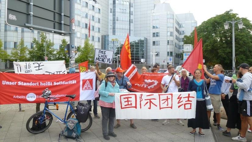 Solidaritätskundgebung für Jiashi-Arbeiter vor der chinesischen Botschaft