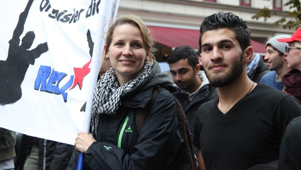 Der Kampf gegen die Spaltung in Ost und West und um Arbeitsplätze für die Jugend ist Herzensangelegenheit der MLPD (rf-foto)