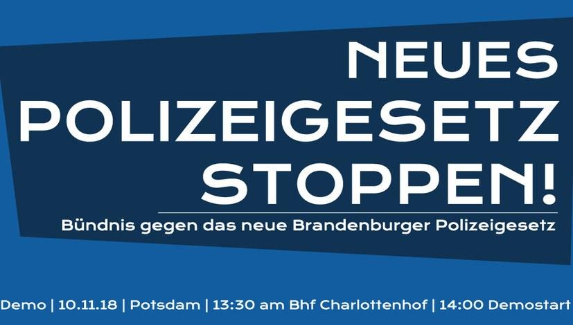 Auf zur Demonstration gegen das neue Polizeigesetz in Brandenburg!