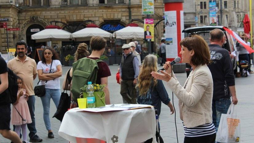 Kundgebung mit Gabi Fechtner in Halle / Saale