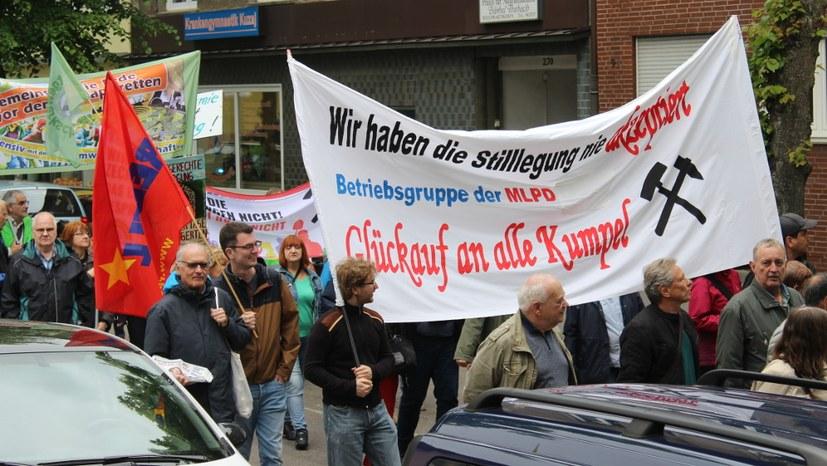 Kämpferische Demonstration gegen Zechenflutung