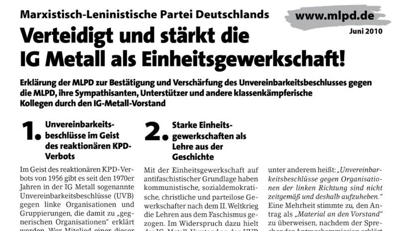 """MLPD: """"Verteidigt und stärkt die IG Metall als Einheitsgewerkschaft"""""""