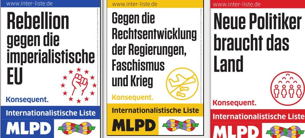 Die neuen Wahlplakate der Internationalistischen Liste/MLPD zur Europawahl