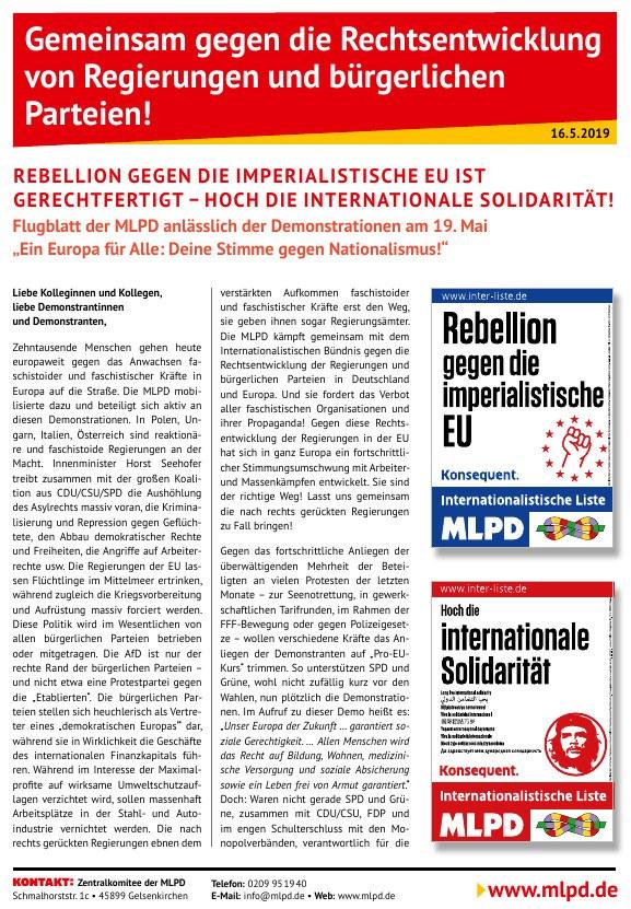 Gemeinsam gegen die Rechtsentwicklung von Regierungen und bürgerlichen Parteien!  Rebellion gegen die imperialistische EU ist gerechtfertigt – Hoch die internationale Solidarität!