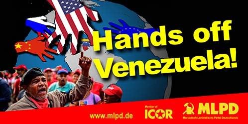 """Hands off Venezuela!"" - Transparent jetzt bestellen"