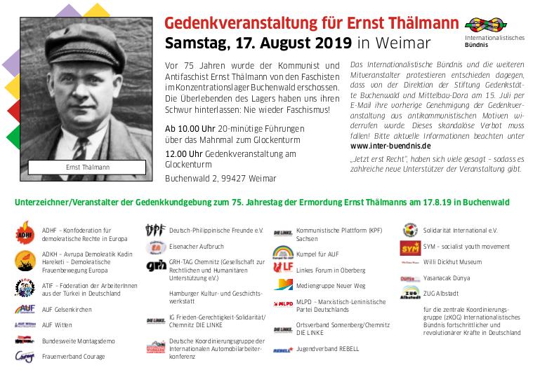 Einladung zur Gedenkveranstaltung für Ernst Thälmann