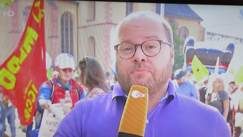 MLPD bei den IAA-Protesten - Screenshot vom ZDF-Bericht