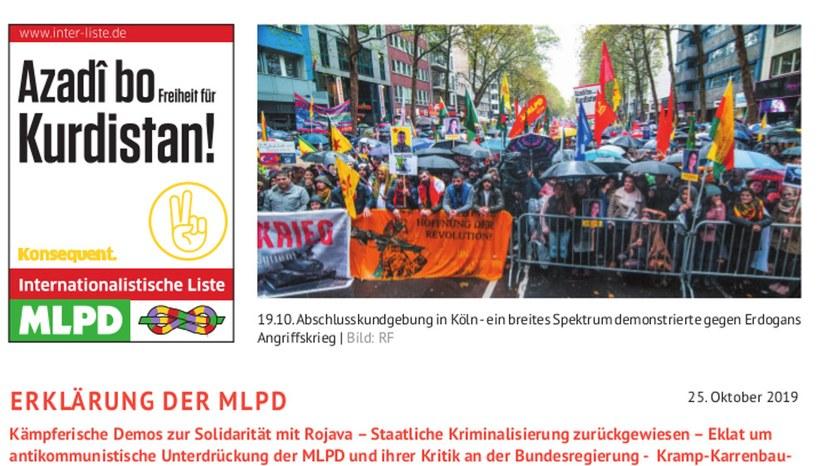 Zur Demonstration zur Solidarität mit Rojava vom 19. Oktober in Köln