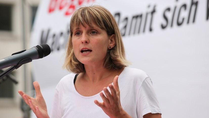 2019 hielt Gabi Fechtner als jetzige Vorsitzende des VVV die Rede - hier ein Foto aus dem Wahlkampf (Foto: RF)