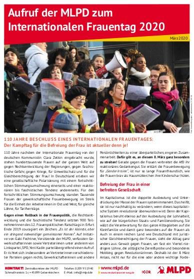Aufruf der MLPD zum Internationalen Frauentag 2020