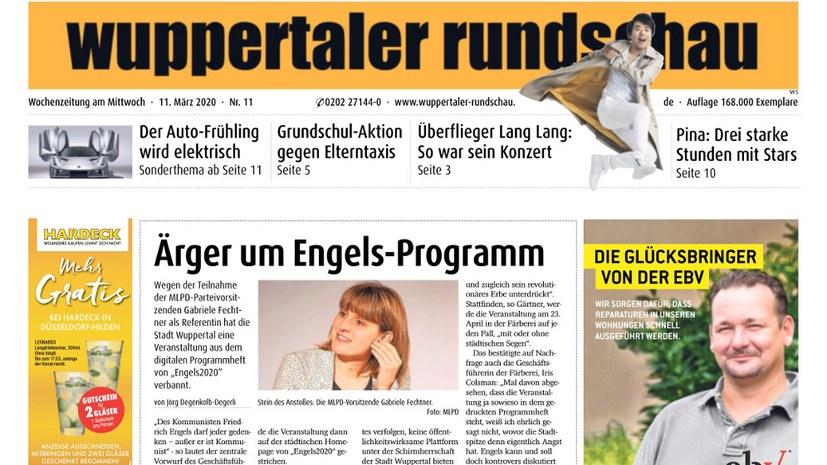 """""""Ärger um Engels-Programm"""" - aus """"Wuppertaler Rundschau"""""""