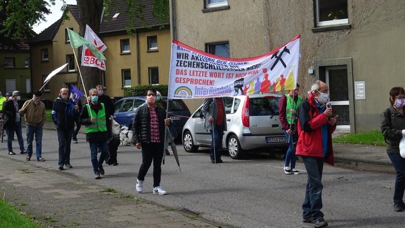 Demonstration durch die Bergarbeiterstadt
