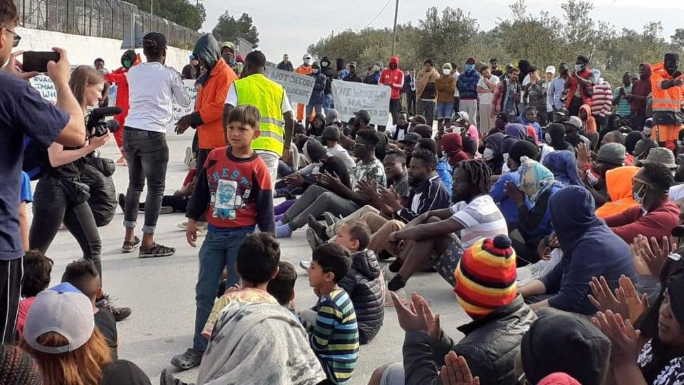 Versammlung der Flüchtlinge