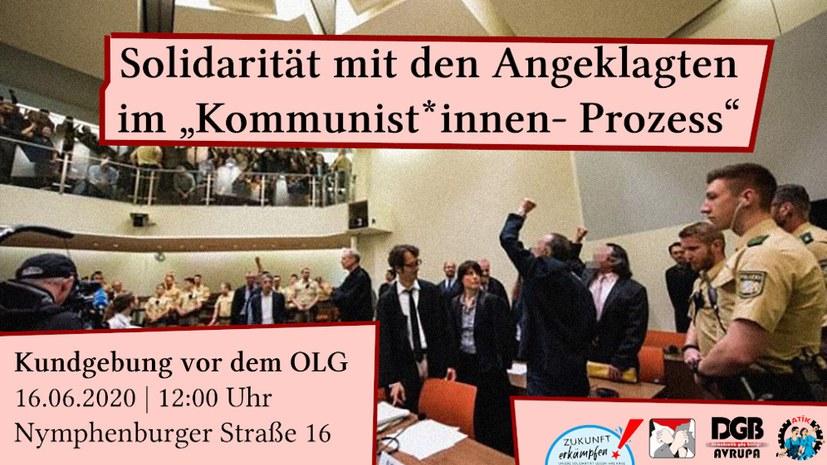 """Solidarität mit den Angeklagten im """"Kommunistinnen- und Kommunisten-Prozess"""""""