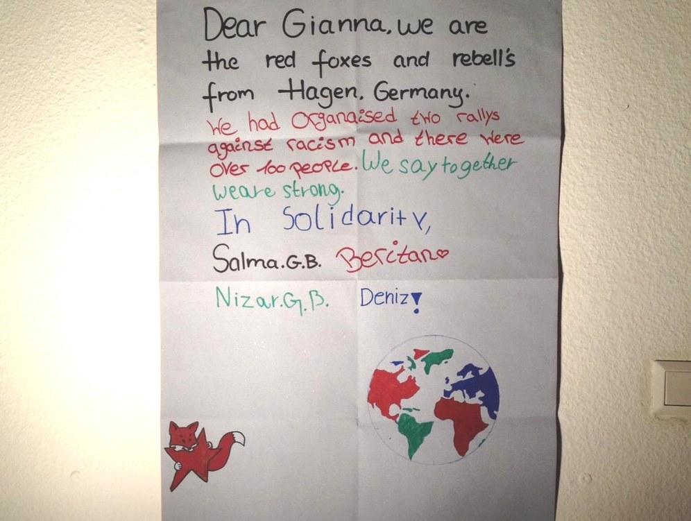 Rotfüchse aus Hagen schreiben an Gianna Floyd
