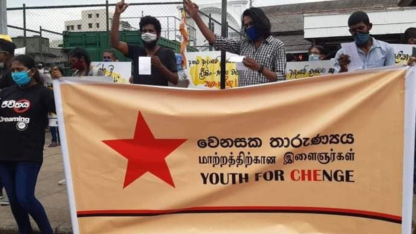 Gemeinsamer Protest in Colombo