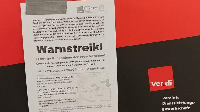 Warnstreik bei der Charité Facility Management GmbH