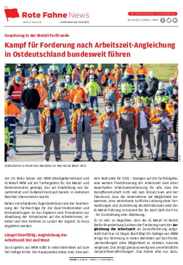 Kampf für Forderung nach Arbeitszeit-Angleichung in Ostdeutschland bundesweit führen