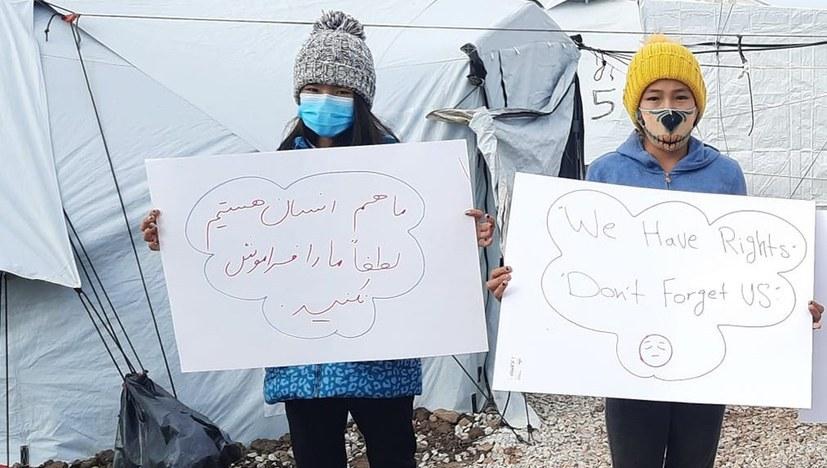 Flüchtlinge: Kämpferische Mai-Grüße aus Kara Tepe Lesbos / Griecheland