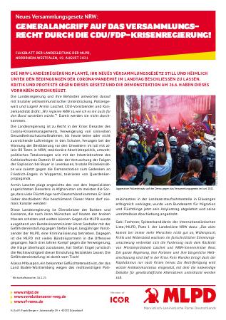 Neues Versammlungsgesetz NRW: Generalangriff auf das Versammlungsrecht durch die CDU/FDP-Krisenregierung