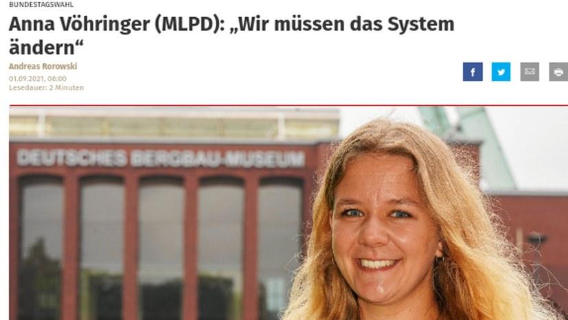 """Anna Vöhringer in der """"WAZ"""" Bochum"""